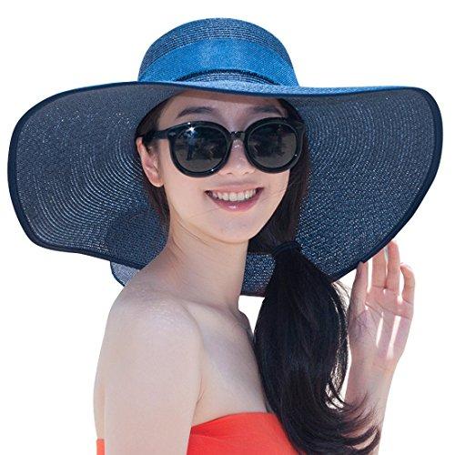 Women's Summer Wide Brim Beach Hats Sexy Chapeau Large Floppy Sun Caps (Navy Blue 5) ()
