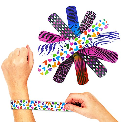 Novelty Place Animal/Heart Print Slap Bracelets Party Wrist Strap for Adult Teens Kids - 9
