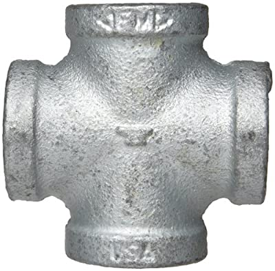 Anvil Malleable Iron Pipe Fitting, Class 150, Cross, NPT Female, Galvanized Finish