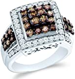 chocolate diamond gold ring - Size - 6.5 - 10k White Gold Chocolate Brown and White Diamond Princess Shape Center Round Cut Ladies Diamond Engagement or Anniversary Ring Band (1.50 cttw)