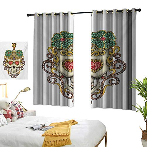 Living Room Curtain W55 x L72 Day of The Dead,Sugar Skull with Heart Pendants Floral Colorful Design Print,White Ivory and Yellow Bedroom Living Room Dining Room - Pendant 3 Light Wright