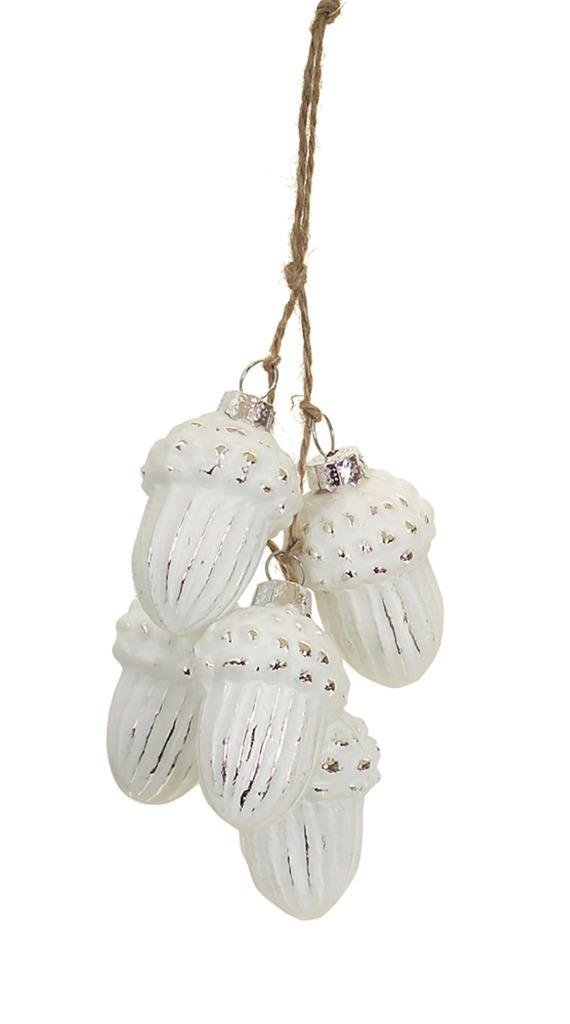White Mercury Glass Acorn Cluster Christmas Ornament