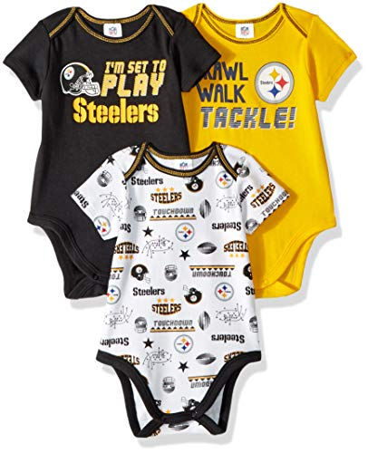 NFL Pittsburgh Steelers Unisex-Baby 3-Pack Short Sleeve Bodysuits, Black, 3-6 Months