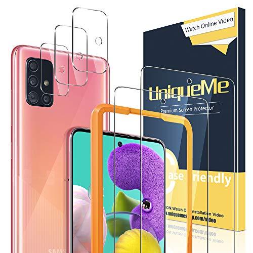 🥇 UniqueMe [2 Pack] Protector de Pantalla para Samsung Galaxy A51 / A51 5G + [3 Pack] Protector de Lente de cámara