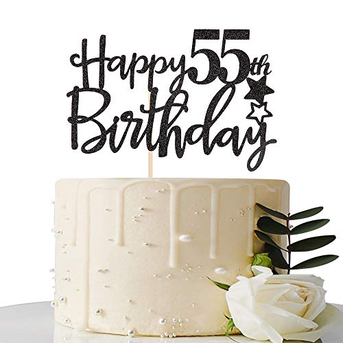 Black Happy 55th Birthday Cake Topper,Hello 55,Cheers to 55 Years,55 & Fabulous Party Decoration]()
