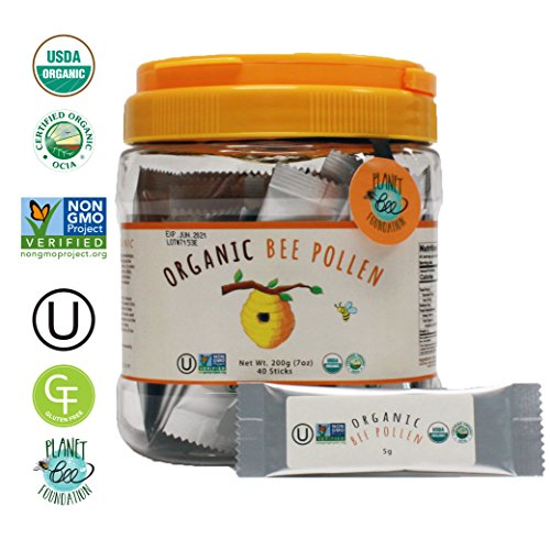 Price comparison product image GREENBOW Organic Bee Pollen - 100% USDA Certified Organic,  Pure,  & Natural Bee Pollen - Superfood Packed with Proteins,  Vitamins & Minerals - Non-GMO,  Kosher,  Gluten Free - 5g x 40 sticks_200g