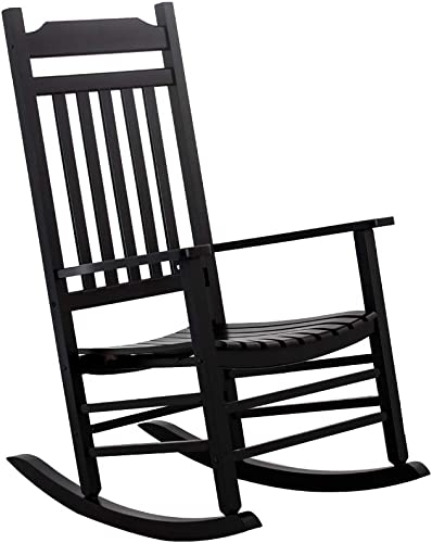 Cheap B Z KD-30B Wooden Rocking Chair Classic Porch Rocker Outdoor Indoor Black outdoor rocking chair for sale