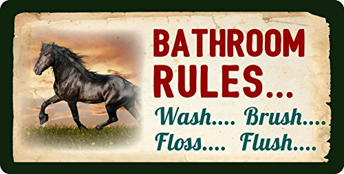 (StickerPirate 314HS Horse Bathroom Rules Wash Brush Floss Flush Western Cowboy Sign Rustic Lodge Cabin Decor 5