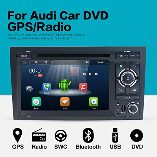 YUNTX Double Din Android 8.1 Car Navigation Stereo 2G/32G Octa-Core Applicable to Audi A4 (2003-2011)-7 inch with Free Rear Backup Camera,LCD Touchscreen,WiFi/BT/SD Card/USB/AM/FM