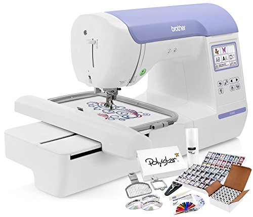 Thread Embroidery Package - Brother PE800 Embroidery Machine + Grand Slam Package Includes 64 Embroidery Threads + Prewound Bobbins + Cap Hoop + Sock Hoop + Stabilizer + 15,000 Designs + Scissors