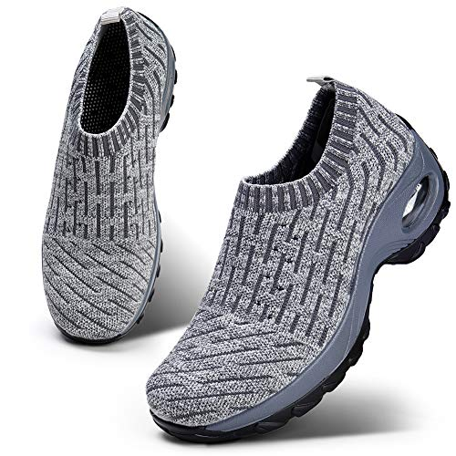 HKR Womens Walking Tennis Shoes Athletic Sports Gym Sock Sneakers Arch Support Comfortable Work Shoes Ligth Grey 6.5(ZJW1872qianhui37) (Best Support Golf Shoes)