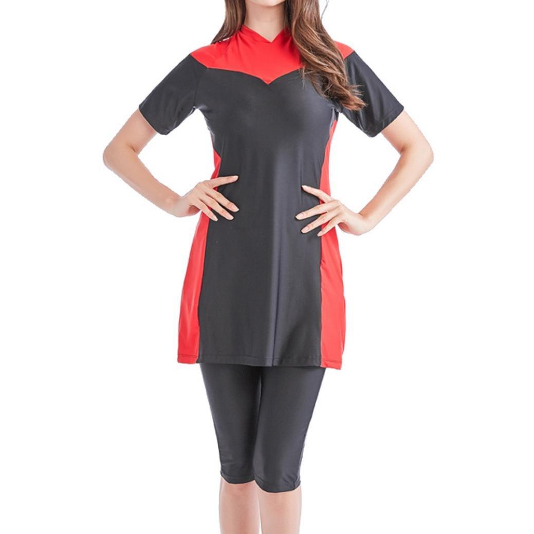 Longay Muslim Women Modest Swimwear Islamic Short Sleeve Top& Pants Swimwear Swimsuit (XXL, Red)