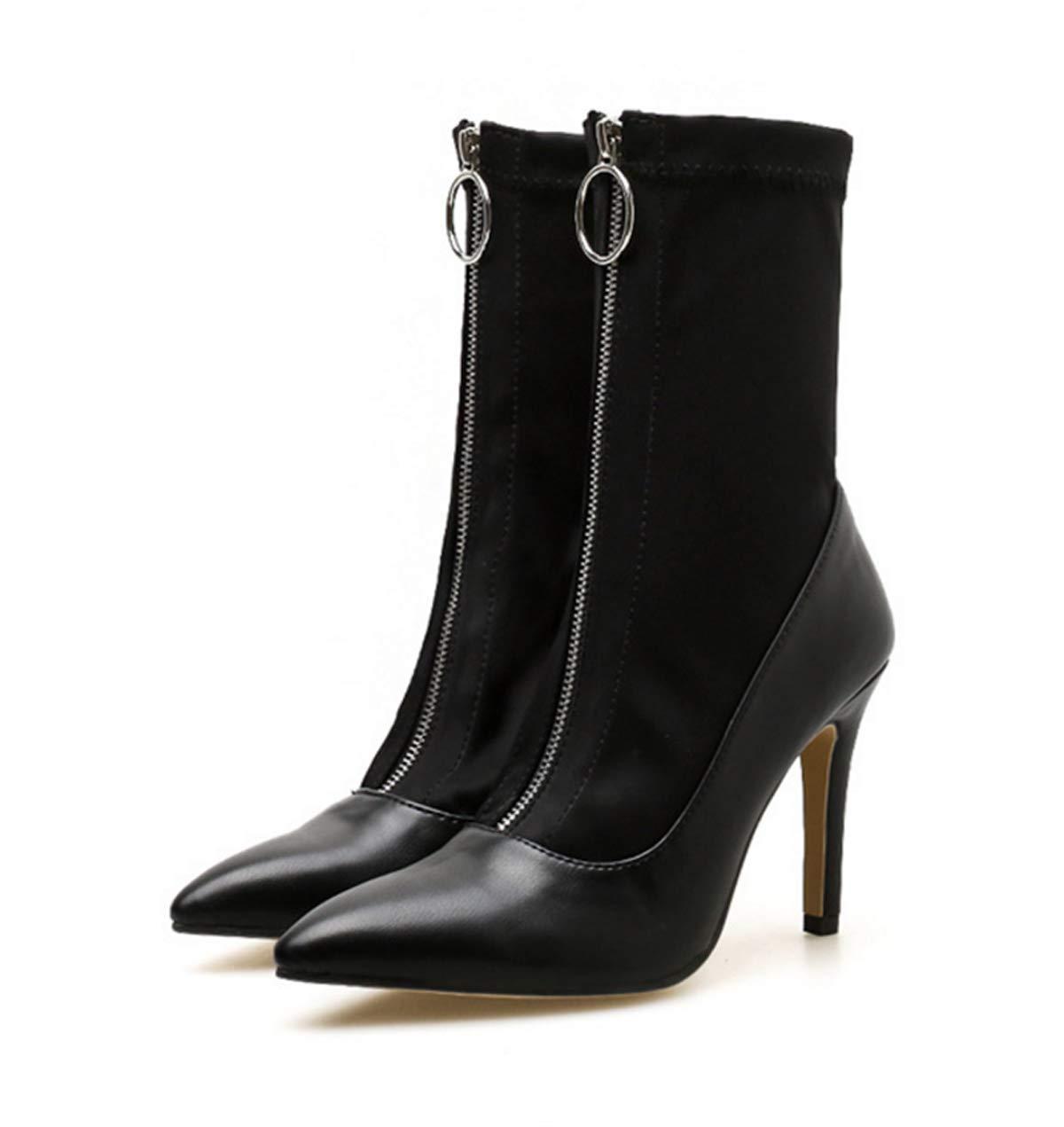 LBTSQ-Moda Scarpe da Donna Ha Testa Sottile Tacco Tacco di 10Cm Super Tacco Alto Zip Cavalleria Gli Stivali.36 nero