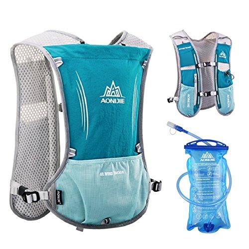 df60a4e704 Triwonder Hydration Pack Backpack 5L Marathoner Running Race Hydration Vest  (Light Blue - with 1.5