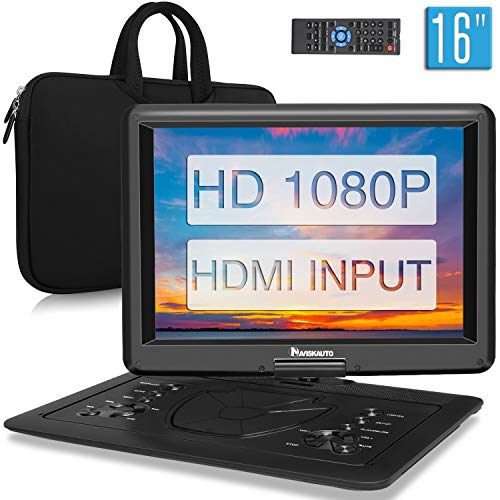 NAVISKAUTO 12.5 Inch HD Portable DVD/CD Player USB/SD Reader with HD 1366x768 Digital TFT 270° Swivel Screen, 5-Hour Built-In Rechargeable Battery, 3m AC/DC Adapter and Carrying Case-Black