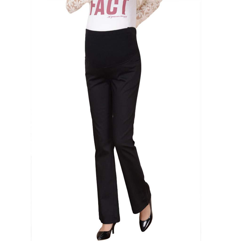 Huifa Maternity Comfort High Waist Trousers Pregnant Casual Prop Belly Leggings (Black,L)