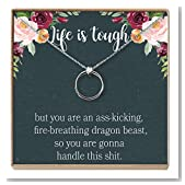Dear Ava Sympathy Gift Necklace: Illness, Cancer, Chemo, Sickness, Thinking of You, Encouragement, Empathy, Uplifting, 2 Linked Circles (Silver-Plated-Brass, NA)