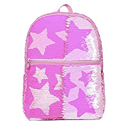 Pink With Stars Reveriable Sequence Back Pack