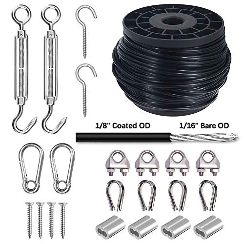 Wire Rope, Vinyl Coated Cable, String Light Hanging Kit Stainless Steel Cable for Outdoor Lights 1/16-Inch Thru 1/8-Inch, Include 145 FT Wire Rope Cable,Turnbuckle and Hooks