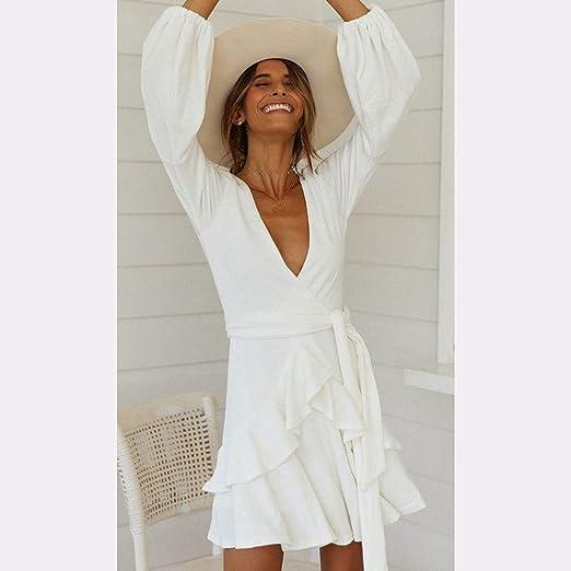 SHIJIAN vestido de mujer mezcla de algodón elástico puño manga larga cuello en V volantes lateral Wrap Casual vestido, Blanco, extra-large: Amazon.es: Amazon.es