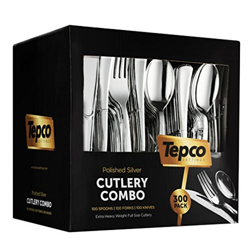 300 Plastic Silverware Set - Silver Plastic Cutlery Set - Disposable Silverware Set - Flatware Set - 100 Plastic Silver Forks - 100 Silver Spoons - 100 Plastic Silver Knives - Heavy Duty - Party Bulk]()