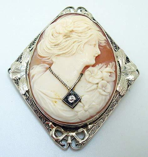 Art Deco 14k White Gold Genuine Natural Shell Cameo Pin with Diamond (#J2942)