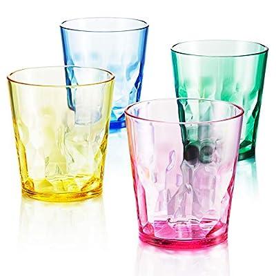 8 oz Unbreakable Premium Juice Glasses - Set of 4 - Tritan Plastic Cups - BPA Free - 100% Made in Japan (Assorted Colors)