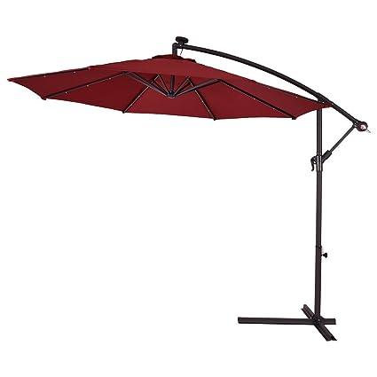 Hanging Solar LED Umbrella Patio Sun Shade Offset Market With Base Burgundy  10u0026quot;