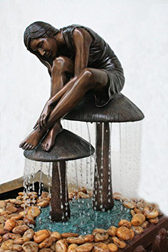 Mystical Girl on a Mushroom Brass Sculpted Fountain with Pump - Great Home and Lawn Artwork Decor for Pond or Pondless Site - 18 x 9 x 15 Inches - Alice in Wonderland Inspired with Bronze Finish