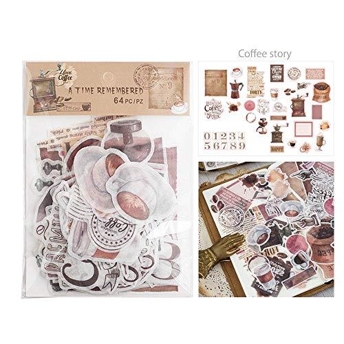 Aolvo Ephemera Pack, Multiple Themes 64 Pcs Washi Self Adhensive DIY Wall Stickers for Notebooks, Greeting Card, Photo Frame, Cup, Halloween Ephemera