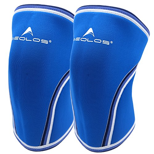 Knee Sleeves (1 pair), 7mm Thick Compression Knee Braces Offer Strong Support for Weightlifting | Cross Training | Powerlifting | Bodybuilding | Squats | Gym and Other Sports (Medium, Blue)