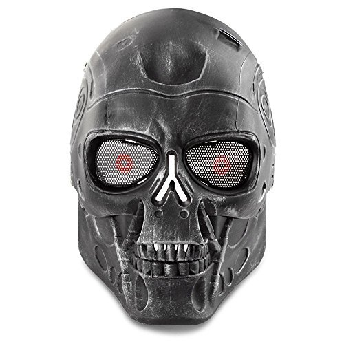 Airsoft Protective Mask Airsoft Paintball Skull Skeleton Metal Mesh Eye Full Face Mask Game Protect Paintball Gear]()