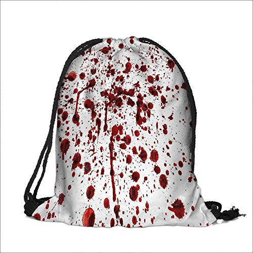 Drawstring Pocke of Blood Grunge Style Bloodstain Horror Scary Zombie Halloween Themed Print Red White Home Supplies 12