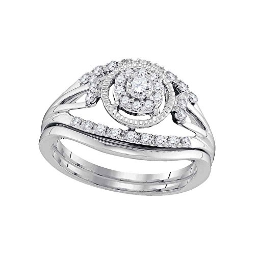 (Jewels By Lux 10kt White Gold Womens Round Diamond Openwork Antique-Style Bridal Wedding Engagement Ring Band Set 1/3 Cttw Ring Size 9)