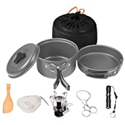 Amazon Lightning Deal 100% claimed: (12-in-1) Outdoor Camping Hiking Cookware Mini Camping Stove with Piezo Ignition Kits Wolfyok(TM) Portable Backpacking Non-stick Cooking Ware Set + Wire Saw + Waterproof Flashlight