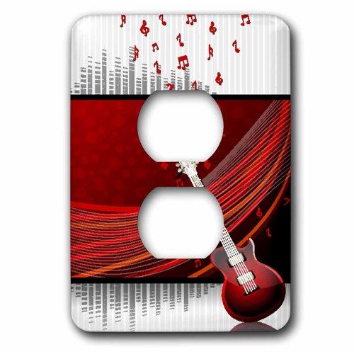 今季ブランド 3drose B00DVSR826 LSP_ 152762_ 6 Aギターagainst Aギターagainst aレッド背景とフローティングMusical Notes Notes – 2プラグコンセントカバー B00DVSR826, CIVARIZE公式ストア:95fc228d --- svecha37.ru