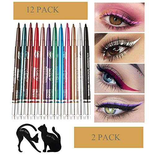 Automatically Rotate Colorful 12-color Eye Shadow Pen With 4 pcs / 2 Packs Set New Cat Line Eye Makeup Eyeliner Stencils for Eye Makeup Cat Eye Line Guide Cosmetic