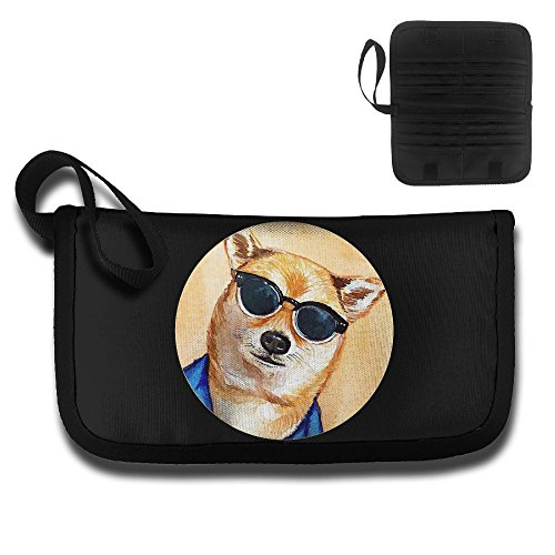 Dog With Glasses Multifunctional High Capacity Portable Simple Card Package Passport Package Travel Documents Storage Bag