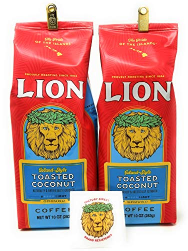 Hawaii Roasters - Lion Coffee Toasted Coconut 10 oz grind (2 Pack)