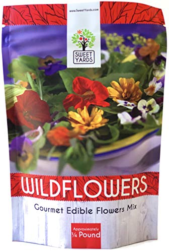 (Wildflower Seeds Edible Flowers Mix - Bulk 1/4 Pound Bag Over 30,000 Open Pollinated Annual and Perennial Seeds)