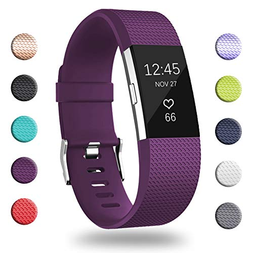 GEAK for Fitbit Charge 2 Bands, Adjustable Replacement Sport Accessory Strap Bands for Fitbit Charge 2, Large #Classic-Plum