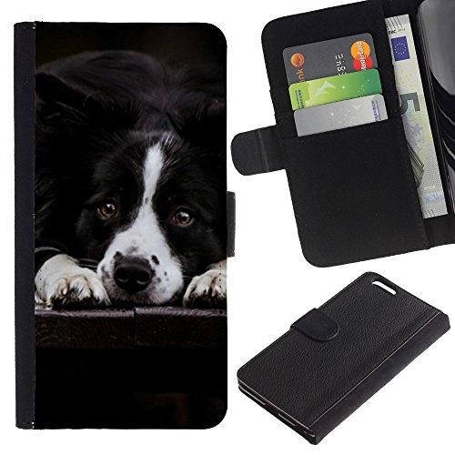 Be Good Phone Accessory // Caso del tirón Billetera de Cuero Titular de la tarjeta Carcasa Funda de Protección para Apple Iphone 6 PLUS 5.5 // Border Collie Black White Dog Pet Canine