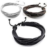 KONOV 3pcs Mens Womens Leather Bracelet, Surfer Wrap Bangle, fit 8-9 inch, Black Brown White