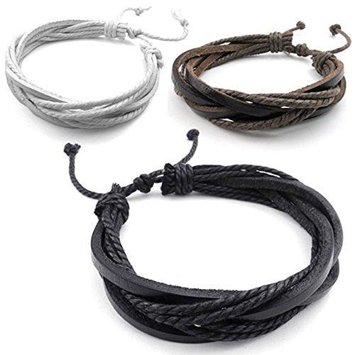 KONOV 3pcs Mens Womens Leather Bracelet, Surfer Wrap - Male Bracelets Leather