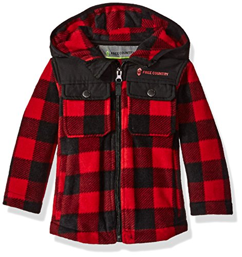 - Free Country Boys Toddler Buffalo Plaid Fleece Hoody, Crimson Red M(3T)