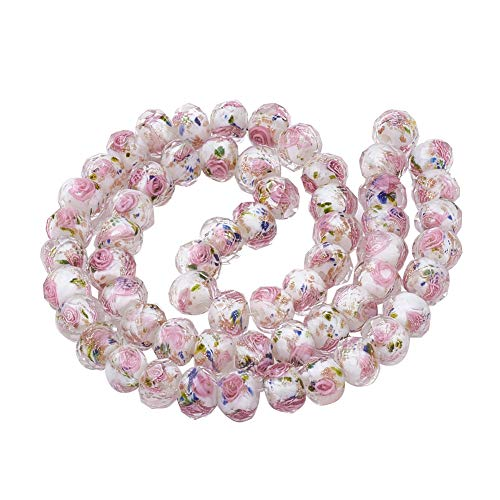 PH PandaHall About 60 Pcs Goldsand Lampwork Glass Beads Faceted Flower Spacer Bead for Jewelry Making 17.3