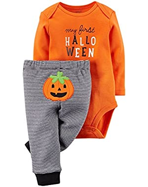 Unisex Baby First Halloween 2-piece Bodysuit Pant Set (18 Months, Orange/Black)