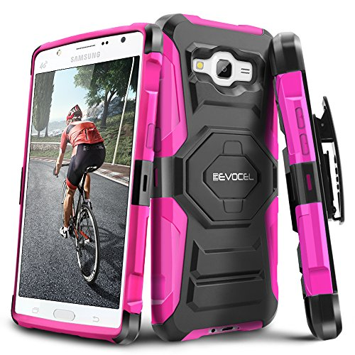 Evocel Galaxy J7 (2015) [New Generation] Rugged Holster Dual Layer Case [Kickstand][Belt Swivel Clip] For Samsung Galaxy J7 J700 (2015) (T-Mobile / MetroPCS / Boost Mobile), Pink (EVO-SAMJ7-XX05)