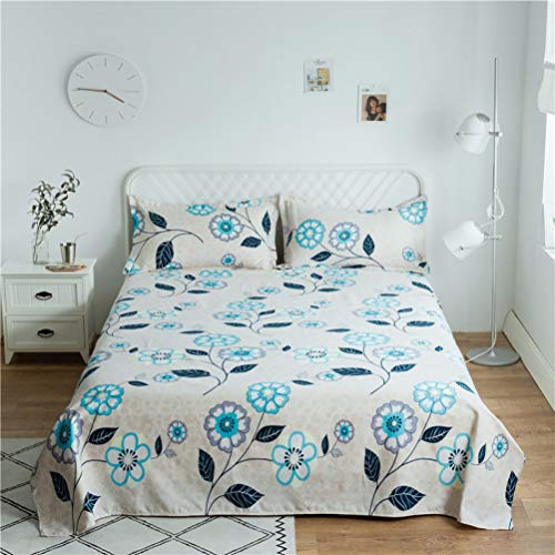 FUOUKU Queen Size 1pcs Cotton 200 Thread Count Bed Sheet Striped Lattice Flat Bedsheet 2 Pillowcase
