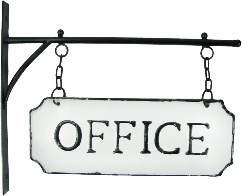 TG,LLC Treasure Gurus Rustic White Enamel Hanging Office Flange Dual Sign Vintage Shop Business Wall Decor